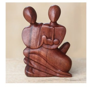 Wood 'Family Love' Statuette, Handmade in, Handmade in Indonesia