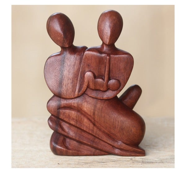 Family Love Mothers and Fathers Day or Year Round Gift Sleek Decorator Accent Brown Wood Modern Art Work Sculpture (Indonesia)