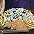 'Golden Paradise' Silk Batik Fan (Indonesia)