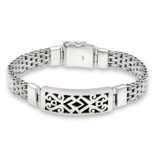 Balinese Warrior ID Plaque Style Fretwork with Safety Box Clasp and Gate Chain in 925 Sterling Silver Mens Bracelet (Indonesia)