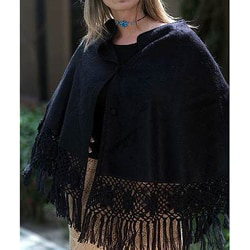 'Night Out' Alpaca Wool Poncho (Peru)