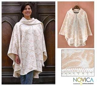 'Snow Flowers' Alpaca Wool Reversible Ruana Cloak (Peru)