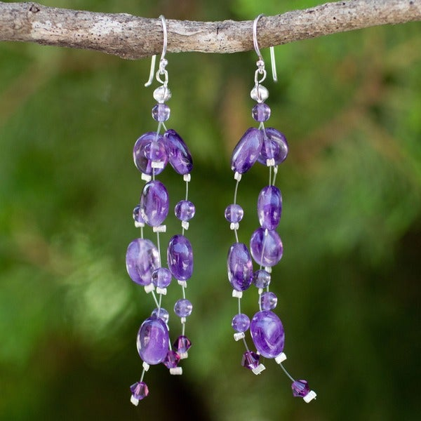 'Plum Drops' Amethyst Earrings (Thailand)'