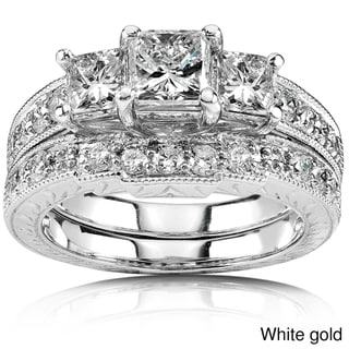 Annello 14k Gold 1 5/8ct TDW Three-Stone Princess Diamond Bridal Ring Set (H-I, I1-I2)