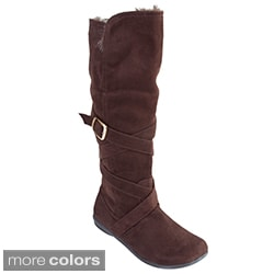Bamboo by Journee Lined Microsuede Fashion Boots