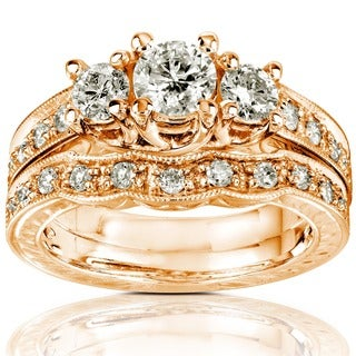 Annello 14k Gold 1ct Round Brilliant Diamond Bridal Set (H-I, I1-I2) with Bonus Item