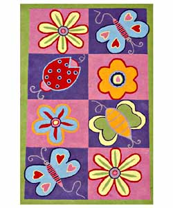 Hand-tufted Flowers and Butterflies Kids' Rug (4' x 6')