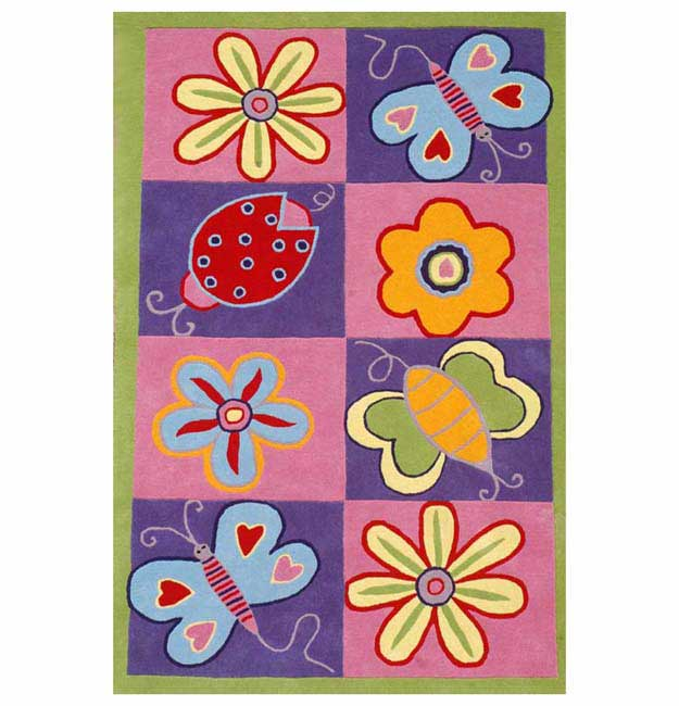 Hand-tufted Butterfly Kids' Rug (5' x 8')