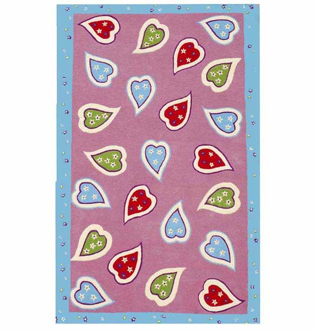Hand-tufted Happy Heart Children's Rug (5' x 8')