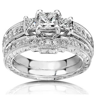 Annello 14k White Gold 1ct TDW Diamond Bridal Rings Set (HI, I1-I2)