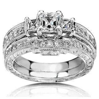 Annello 14k White Gold 1 1/5ct TDW Diamond Bridal Rings Set (H-I,SI1)