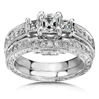 Annello 14k White Gold 1 1/5ct TDW Diamond Bridal Rings Set (H-I,SI1) with Bonus Item