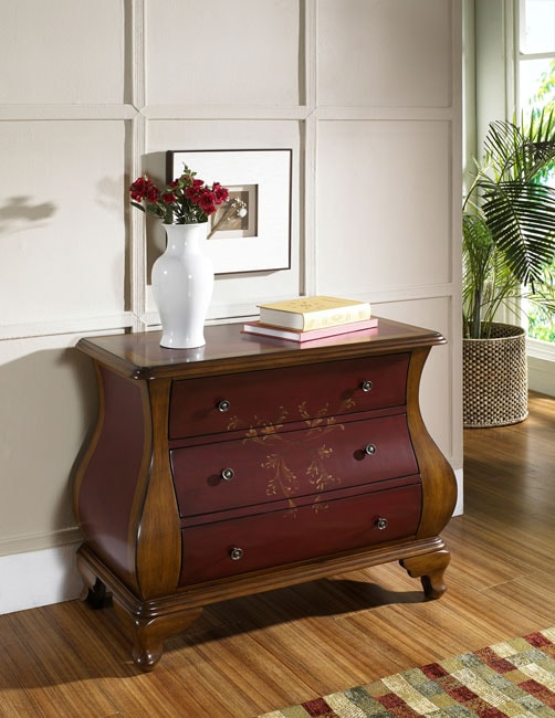 Hand-painted Ruby and Brown Bombay Chest