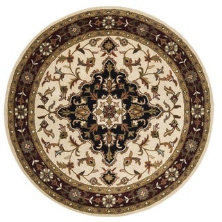 Safavieh Handmade Heritage Tabriz Ivory/ Red Wool Rug (8' Round)