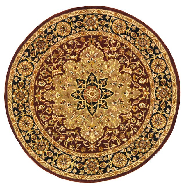 Safavieh Handmade Heritage Tabriz Red/ Black Wool Rug (6' Round)