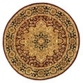 Handmade Heritage Tabriz Red/ Black Wool Rug (6' Round)