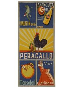 Hand-hooked Vintage Poster Blue Wool Runner (2'6 x 6')