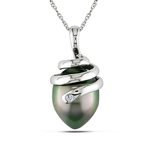 Miadora 14k White Gold Black Tahitian Pearl Necklace (10-11 mm)