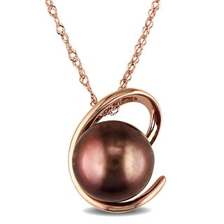 Miadora 14k Pink Gold Brown Tahitian Pearl Necklace