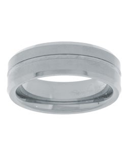 Men's Tungsten Carbide Satin Finish Grooved Band (7 mm)