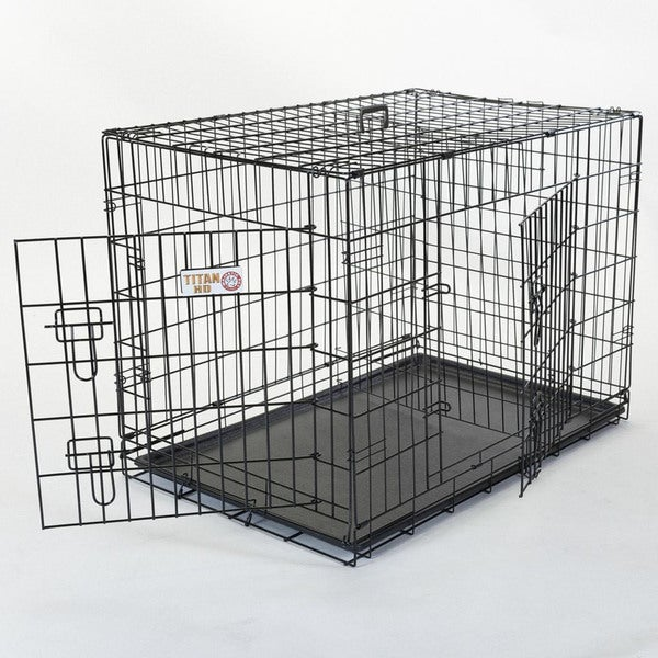 Double Door Small Folding Dog Crate Cage