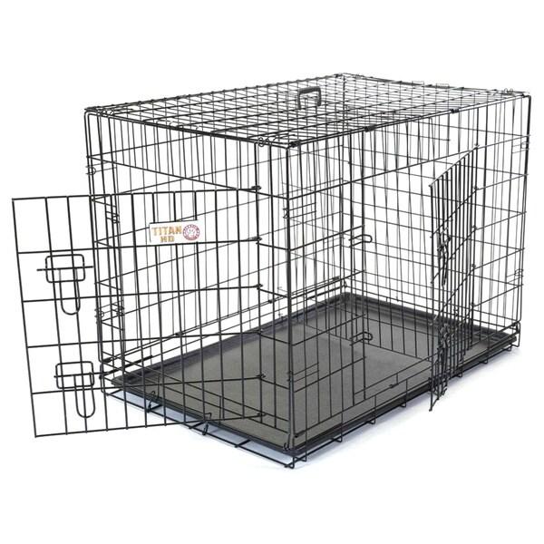 Titan Double Door 42-inch Folding Dog Crate