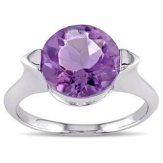 Miadora Sterling Silver Round Amethyst Ring
