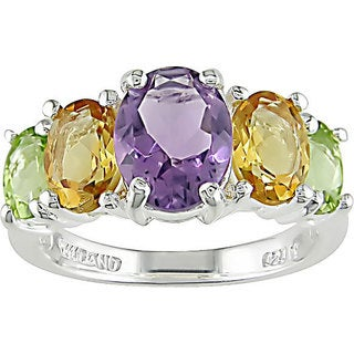 Miadora Sterling Silver 4.05-carat Oval-cut Multi-gemstone Ring