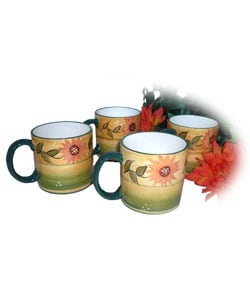 Hand-painted Sunflower Garden 4-piece Mug Set