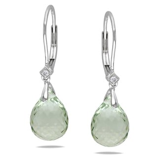 Miadora 14k White Gold Green Amethyst Briolette Earrings