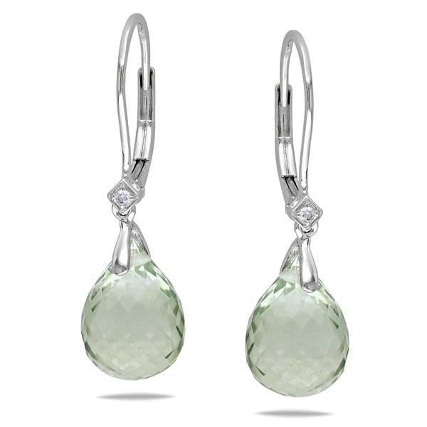 Miadora 14k White Gold Green Amethyst Briolette Earrings