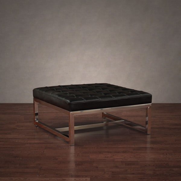 Liberty Large Black Leather Ottoman