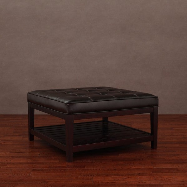 Hudson Dark Brown Leather Ottoman Overstock Shopping Great Deals On Ottomans