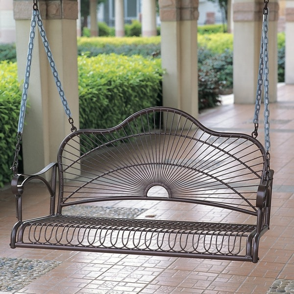 International Caravan Sun Ray Iron Porch Swing - 10877773 - Overstock ...