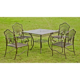 International Caravan Sun Ray Five-piece Iron Lawn Furniture Set
