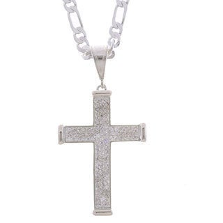 Simon Frank Principal Alloy Cross with CZ Hip Hop Necklace