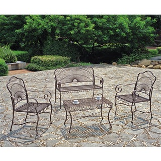 International Caravan Sun Ray 4-piece Iron Patio Furniture Set