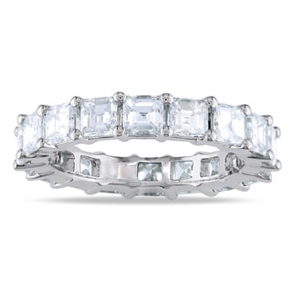 Miadora 18k White Gold 4ct TDW Asscher Diamond Eternity Ring (G-H, VS2)