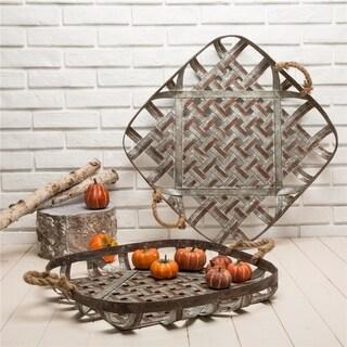 Glitzhome Farmhouse Oversized Galvanized Metal Wall Basket