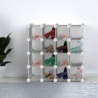 16 Piece Interlocking Storage Cubby  Modular Plastic Shoe Organizer Shelf and Closet Storage Bin System by Lavish Home