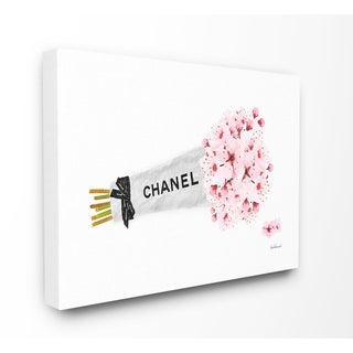The Stupell Home Decor Fashion Chanel Wrapped Cherry Blossoms Canvas Wall Art, 16 x 20, Proudly Made in USA - Multi-Color