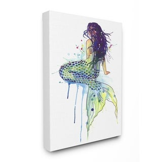 The Stupell Home Decor Dripping Watercolor Mermaid with Her Back Turned Canvas Wall Art, 16 x 20, Proudly Made in USA