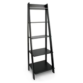 Porch & Den Silverado Black Solid Wood Split 5-shelf Ladder Unit