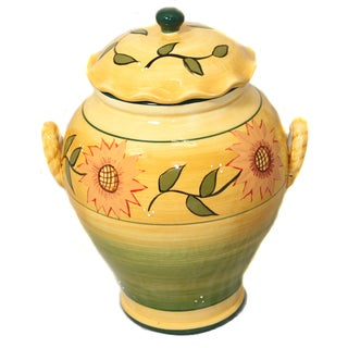 Sunflower Garden Handpainted Large Cookie Jar