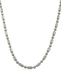 Fremada 14k White Gold Alternating Bead Necklace