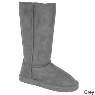 Adi Designs Women's Microsuede Mid-Calf Boots with Shearling Lining