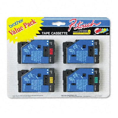 Brother TC Series Tape Cartridge for P-Touch Labelers - 4 Pack