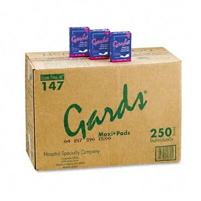 Gards Maxi Pads - #4 250 Individually Boxed Napkins/Carton