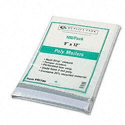 Recycled Plain White Poly Mailers 9 x 12 - 100/Pack