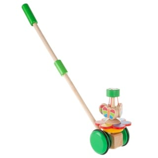 Wooden Push and Pull Toy  Old Fashioned Walk Along Butterflies with Handle for Indoor and Outdoor Play by Hey! Play!